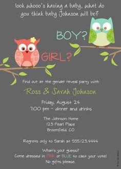 Look Whoo's Having a Baby Owl Gender Reveal Party, DIY Printable, digital file (item 1010). $12.00, via Etsy.