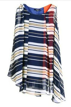 Vertical Striped Sleeveless Chiffon Dress