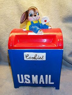 Vintage Valentine Mail Box Cookie jar