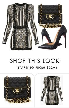 """Untitled #3289"" by evalentina92 ❤ liked on Polyvore featuring Chanel, Balmain and Christian Louboutin"