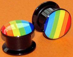 Pair Acrylic Rainbow Screw On Saddle Plugs 1/2Gauge,12.7mm