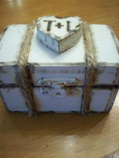 Ring Bearer Wooden Box with Burned edges...Rustic