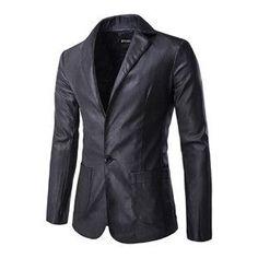 Brand Men's Leather Suit Business Slim Fit Male Blazer black England Style Suit Leather Jacket Men Blazer Suit B3200