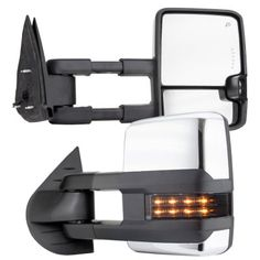 GMC Sierra 2007-2013 Chrome Towing Mirrors Smoked LED DRL Lights Power Heated
