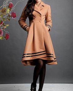 Camel cashmere dress coat big sweep women wool winter coat long jacket  large size wmen coat parkas outercoat windbreaker wool coat dress