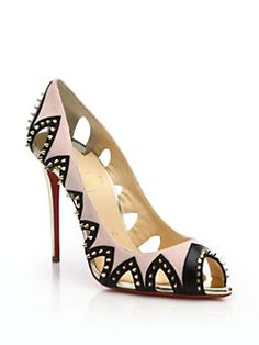 Christian Louboutin - Circus City Spiked Peep-Toe Pumps