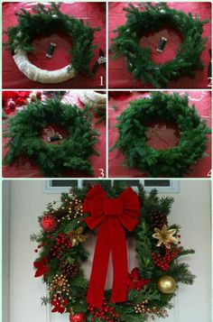Five Step Photo Tutorial Showing How To Make A Christmas Wreath Sticking Pine Branches Onto White Hoop And Decorating It With Red Bow Other