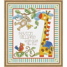 Baby by Herrschners® Safari Buddies Birth Record Counted Cross-Stitch Kit