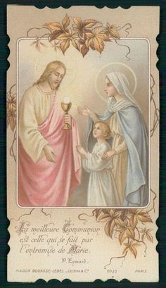 Antique HOLY CARD Vintage Die Cut Jesus Chalice communion devotrion pray Bouasse