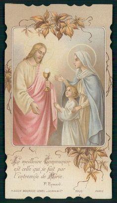 Antique HOLY CARD Vintage Die Cut Jesus Chalice communion devotrion pray Bouasse