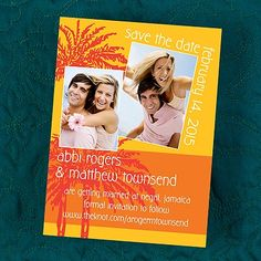Tangerine Paradise Perfection Palm Tree Save the Date Card for a Destination Wedding
