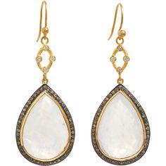 Sara Weinstock Moonstone & Brown Diamond Pear-Shaped Earrings ($2,760) ❤ liked on Polyvore