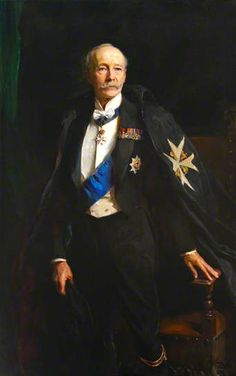 Portrait of Major General Aldred Frederick George Beresford Lumley (1857–1945), 10th Earl of Scarbrough, KG, GBE, KCB, G St J, 1930 by Philip de Laszlo (1869-1937). The cross on the cape indicates he was a member of the Order of St. John.