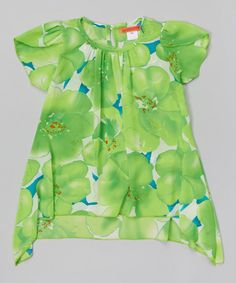 Look at this #zulilyfind! Green Floral Floral Tunic - Toddler & Girls by Paulinie #zulilyfinds