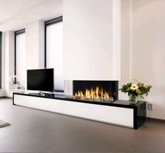 Faber: Gashaarden > Built-in > Triple Premium XXL Wall Units With Fireplace, Modern Fireplace, Fireplace Wall, Fireplace Design, Home Office Design, Interior Design Living Room, New Living Room, Living Spaces, Fireplace Remodel