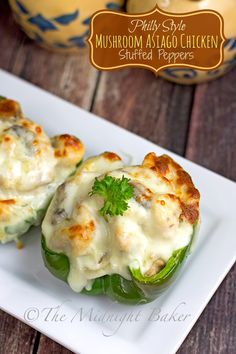 Philly Style Mushroom Asiago Chicken Stuffed Peppers - The Midnight Baker Philly Stuffed Peppers, Chicken Stuffed Peppers, Stuffed Mushrooms, Stuffed Shells, Easy Chicken Recipes, Beef Recipes, Cooking Recipes, Asiago Chicken, Recipes
