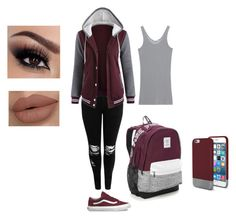 """school outfits"" by maliyah-waldron on Polyvore featuring Boohoo, iHeart, Vans, Victoria's Secret and Original Penguin"