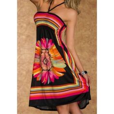 $14.84 Bohemian Halter Floral Print A-Line Dress For Women