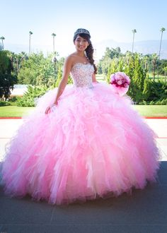 Elegant Pink Quinceanera Dresses Ball Gown Ruffles Tulle Beading Sequins Lace Up 2017 Plus Size Debutantes Sweet 16 Party Prom Gowns Custom 15 Dresses Pink, Sweet 15 Dresses, Quince Dresses, Pretty Dresses, Pink Dress, Beautiful Dresses, Dresses 2016, Yellow Dress, Formal Dresses