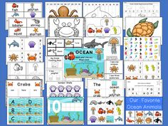 HUGE 260 page Ocean Unit that includes Math, Literacy, Centers, Circle Time, No Prep Printables, Craftivity, and More!