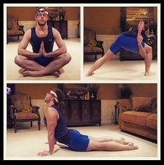 """TRIDAILYCHALLENGE """"Namaste"""" tonight I learned yoga is freakin hard and I'm not as flexible as I thought, but I had to give it a tri!!! #day17 #challengeAC #CAC #yoga #namaste #triathlon #swimbikerun"""