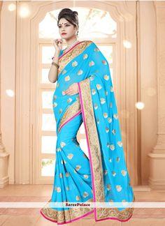 Flattering Georgette Turquoise Patch Border Work Designer Saree