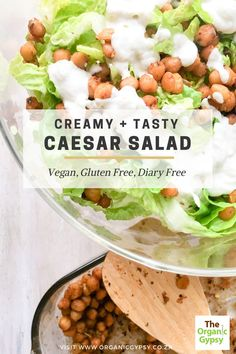 Healthy creamy vegan caesar salad that is dairy free, nut free and gluten free. It is such a simple salad but so rich and delicious. Have to try. Plant based and vegetarian. Healthy nutritious salad.  The ingredients are simple. Best Salad Recipes, Raw Food Recipes, Healthy Recipes, Healthy Tips, Vegan Gluten Free, Dairy Free, Vegan Dishes, Vegan Food, Caesar Salad