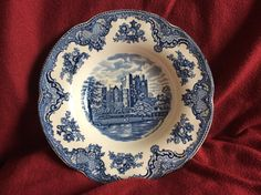 Johnson Brothers Soup Plate Old Britain Castles China 8 Made in England Johnson Bros, Johnson Brothers, Soup Plating, Antique Stores, Dinner Plates, Tea Party, Red And Blue, Britain, Vintage Items