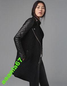 czarny płaszcz gładkie skórzane rękawy zara M