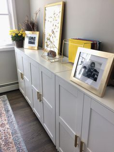 Small Living Room Storage Cabinet Ikea Brimnes Cabinets with Gold Pulls Small Living Room Storage, Laundry Room Storage, Living Room Decor, Ikea Dining Room, Home Office Storage, Ikea Home Office, Diy Storage, Ikea Office Hack, Basement Storage