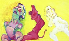 Three Ways of Being, oil on canvas, 2004, by Maria Lassnig