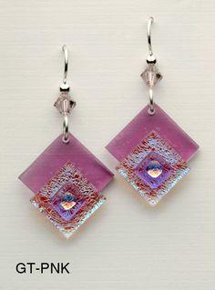 Fused Glass Earrings lovely assemblage