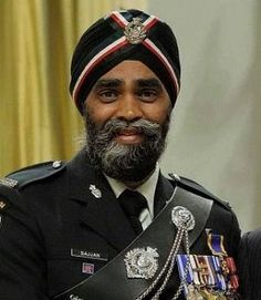 Decorated with highest military honour of canada,the order of military merit,harjit singh sajjan is the first sikh to take command of canadian regiment as chief of british columbia regiment.he is amritdharie ie baptized sikh