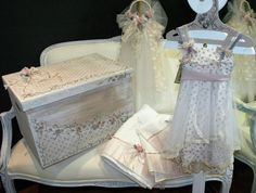 romantic, vintage inspired, handmade baptism floral dress, silk tulle, lace, beige, purple, white, handmade baptism set, wooden box