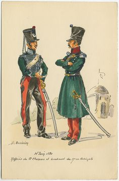 13th Chasseurs a Cheval, Sous Officier and Lieutenat in Redingote 1830(invasion of Algiers) by H.Boisselier