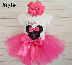 Check out this item in my Etsy shop https://www.etsy.com/listing/479478071/minnie-mouse-birthday-outfit-free