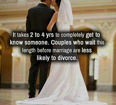 Get to know someone before rushing into a marriage or any relationship in general.
