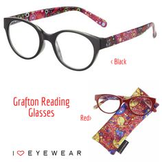 Our Grafton Reading Glasses are a fun mix of circles and paisley prints, PACKED with color! Available in Red & Black frames, with matching cases included. Our BLACK option (top) has more cool/pink tones, while our RED option (bottom) has more warm/red tones. Which would you choose?⠀