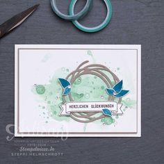 Geburtstagskarte - Global Design Project - Swirly Bird - Aquarell - Wunderbar Verwickelt - Stempelwiese