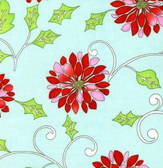 FreeSpirit Quilting Fabric: Dena Fishbein Christmas Snow Flower in Red ~ would make a pretty Christmas dress for the girls