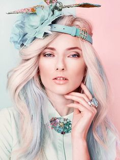 Pastel Perfection - Softest shades of pink, blue, and green! Absolutely love her hairpiece.