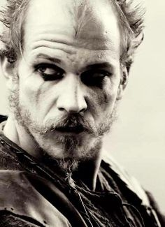 "Floki ""I'm just a joker"", Vikings, great tv, beard, powerful face, intense eyes, wrinckles, lines of life, portrait, photo b/w."
