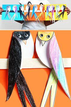 Üç boyutlu telde duran kuş yapımı, etkinlikleri el işleri çalışması ve örnekleri kağıttan kartondan basit kolay etkinliği çalışmaları. Preschool activities craft site. KALIP Kuş Kalıbı
