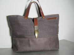 Leather and linen bag wekender oiled cowhide por LAMILAcanvas2