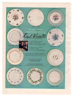 Vintage 1958 Royal Worcester China Magazine Print Ad English Tableware 1950s Kitchen Decor