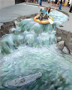 White River Rafting. Trompe L'oeil.  3D Sidewalk Chalk Art: 4 of the World's Most Talented Street Artists | DeMilked