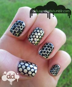 Black and Gold Reverse Nails