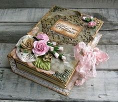 How incredible is this handmade, shabby chic wedding book/keepsake scrapbook Book Crafts, Diy And Crafts, Paper Crafts, Fabric Crafts, Altered Boxes, Altered Art, Decoupage, Decoration Shabby, Flower Decoration