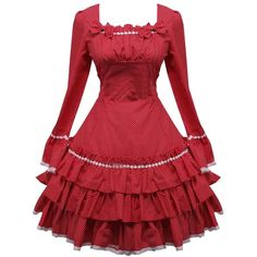 Partiss Women's Applique Sweet Love Lolita Dress ($65) ❤ liked on Polyvore featuring dresses, applique dress and red dress