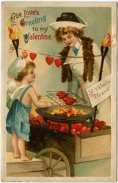 Valentine Postcard Woman Watching a Cherub Roast Hearts on a Valentine Images, My Funny Valentine, Vintage Valentine Cards, Vintage Greeting Cards, Vintage Holiday, Valentine Day Cards, Valentine Cupid, Valentines Day Holiday, Victorian Valentines